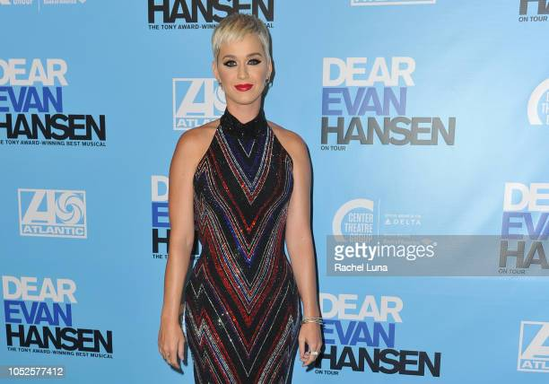 Katy Perry attends the Los Angeles opening night performance of 'Dear Evan Hansen' at Ahmanson Theatre on October 19 2018 in Los Angeles California