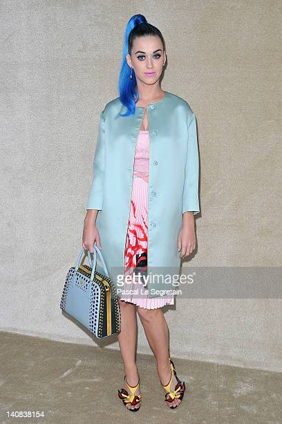 Katy Perry attends the Miu Miu ReadyToWear Fall/Winter 2012 show as part of Paris Fashion Week at Conseil Economique et social on March 7 2012 in...