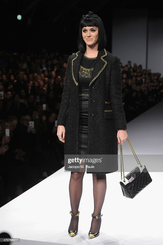 Katy Perry attends the Moschino show as a part of Milan Fashion Week Womenswear Autumn/Winter 2014 on February 20, 2014 in Milan, Italy.