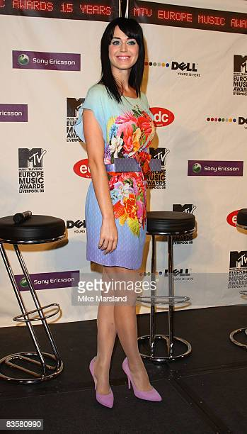 Katy Perry attends the MTV Europe Music Awards 2008 - Press Conference, ahead of the awards show tomorrow at St George's Hall on November 5, 2008 in...