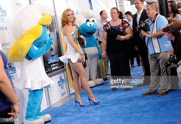Katy Perry attends the premiere of 'The Smurfs' at the Ziegfeld Theater on July 24 2011 in New York City