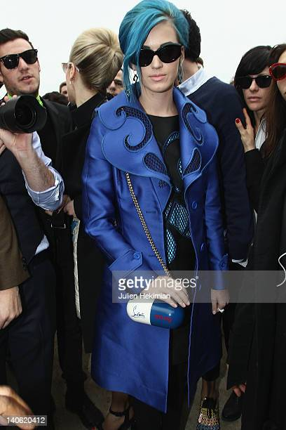 Katy Perry attends the Viktor Rolf ReadyToWear Fall/Winter 2012 show as part of Paris Fashion Week at Espace Ephemere Tuileries on March 3 2012 in...