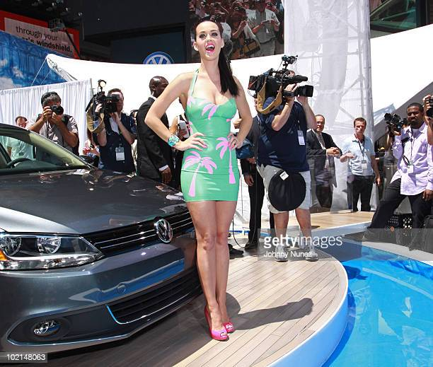 Katy Perry attends the world premiere of Volkswagen's new compact sedan at Blue Fin in W New York Time Square on June 15 2010 in New York City