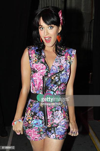 Katy Perry backstage during the taping of MTV's 'FNMTV' on July 10 2008 in Hollywood CA The show airs Fridays at 8pm on MTV