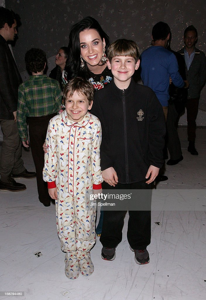 Katy Perry, cast members Zac Ballard and Johnny Rabe attends 'A Christmas Story, The Musical' Broadway Performance at Lunt-Fontanne Theatre on December 12, 2012 in New York City.