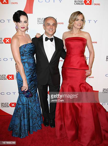 Katy Perry CEO of Coty Inc Michele Scannavini and Founder of Delete Blood Cancer Katharina Harf attend the 2013 Delete Blood Cancer Gala at Cipriani...