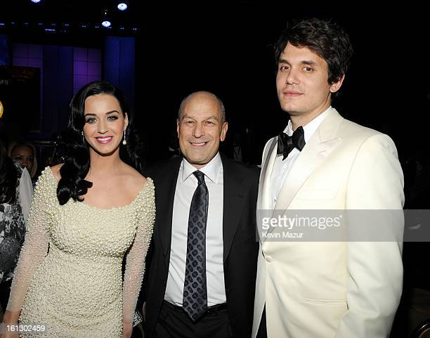 Katy Perry Chairman CEO of Island Def Jam and Universal Motown Republic Group Barry Weiss and John Mayer attend the 55th Annual GRAMMY Awards...