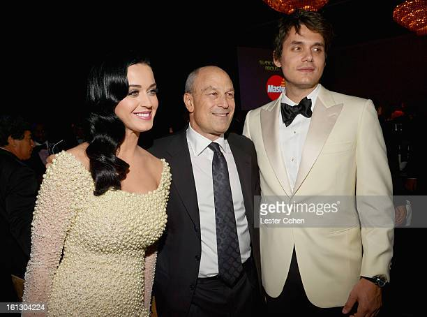 Katy Perry Chairman CEO of Island Def Jam and Universal Motown Republic Group Barry Weiss and John Mayer attends the 55th Annual GRAMMY Awards...