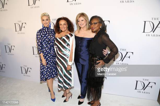 Katy Perry Diane von Furstenberg Arianna Huffington and Anita Hill attend the 10th Annual DVF Awards at Brooklyn Museum on April 11 2019 in New York...