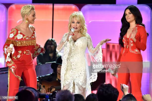 Katy Perry Dolly Parton and Kacey Musgraves perform onstage during the 61st Annual GRAMMY Awards at Staples Center on February 10 2019 in Los Angeles...