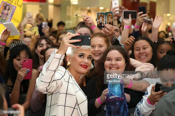 Katy Perry greets fans during an appearance at Westfield Carousel on July 25 2018 in Perth Australia