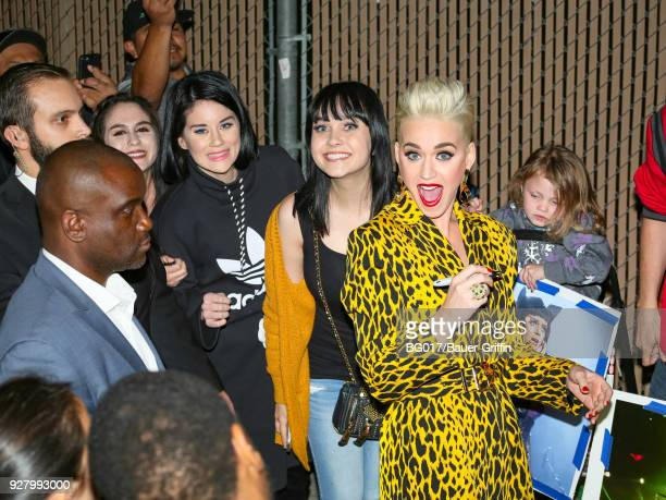 Katy Perry is seen arriving at the 'Jimmy Kimmel Live' on March 05 2018 in Los Angeles California