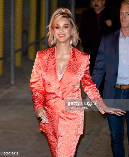 Katy Perry is seen at 'Jimmy Kimmel Live' on February 12, 2020 in Los Angeles, California.