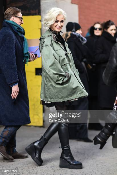 Katy Perry is seen outside the Marc Jacobs show during New York Fashion Week Women's Fall/Winter 2017 on February 16 2017 in New York City