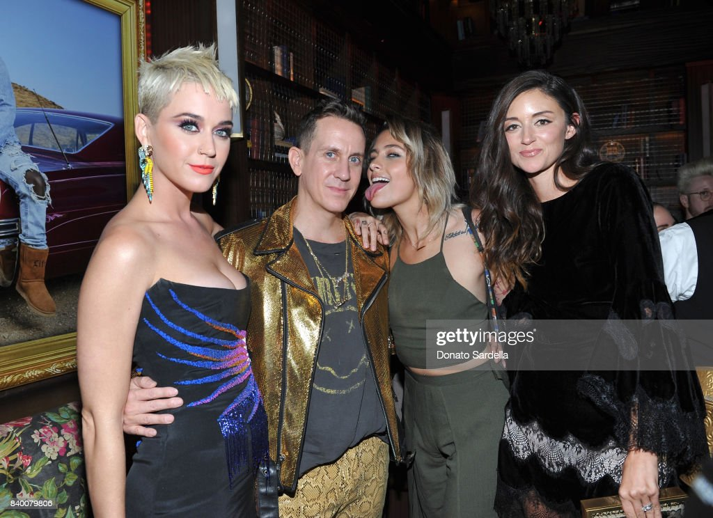 Katy Perry, Jeremy Scott, Paris Jackson and Caroline D'Amore at UGG x Jeremy Scott Collaboration Launch Event at The h.wood Group's 'Poppy' on August 27, 2017 in West Hollywood, California.