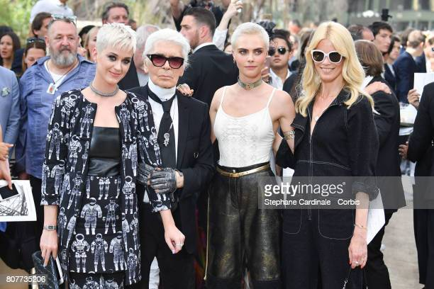 Katy Perry Karl Lagerfeld Cara Delevingne and Claudia Schiffer attend the Chanel Haute Couture Fall/Winter 20172018 show as part of Haute Couture...