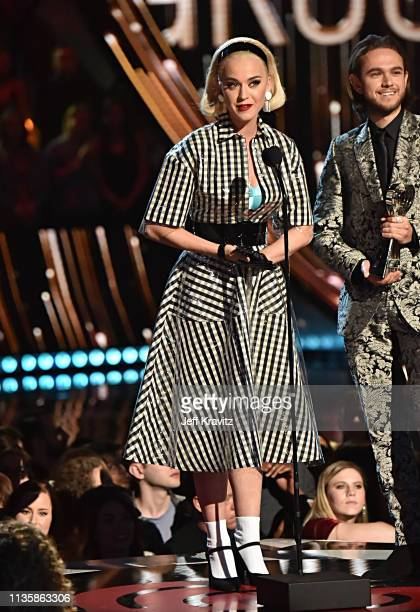Katy Perry on stage at the 2019 iHeartRadio Music Awards which broadcasted live on FOX at the Microsoft Theater on March 14 2019 in Los Angeles...
