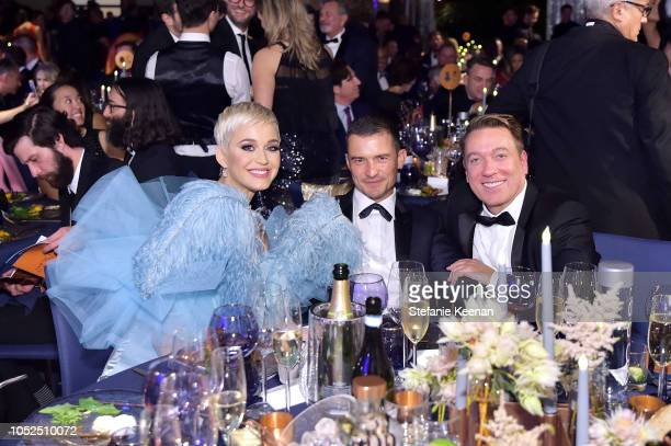 Katy Perry Orlando Bloom and Chair Kevin Huvane attend the amfAR Gala Los Angeles 2018 at Wallis Annenberg Center for the Performing Arts on October...