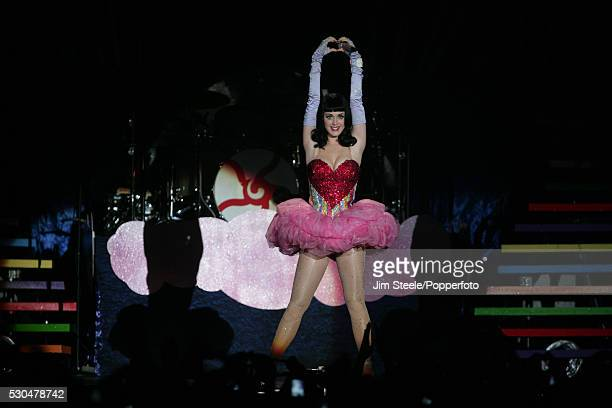 Katy Perry performing on stage at Wembley Arena in London on the 9th April, 2011.