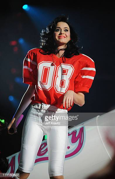 Katy Perry performs at the 2008 MTV Europe Music Awards held at at the Echo Arena on November 6 2008 in Liverpool England