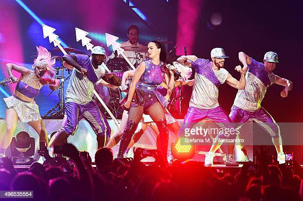 Katy Perry performs at the Dubai Airport's air show Gala Dinner as part of the launch of their new project musicDXB at Atlantis The Palm on November...