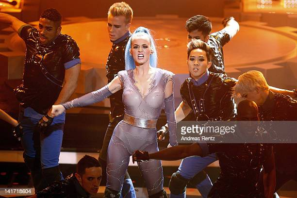 Katy Perry performs at the Echo Awards 2012 at Palais am Funkturm on March 22 2012 in Berlin Germany