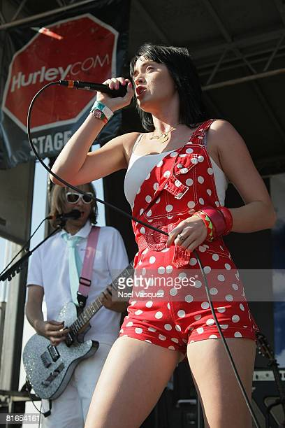 Katy Perry performs at the Vans Warped Tour at the Pomona Fairgrounds on June 20 2008 in Pomona California