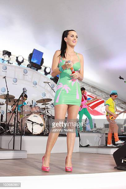 Katy Perry performs at the world premiere of Volkswagen's new compact sedan at Blue Fin in W New York Time Square on June 15 2010 in New York City