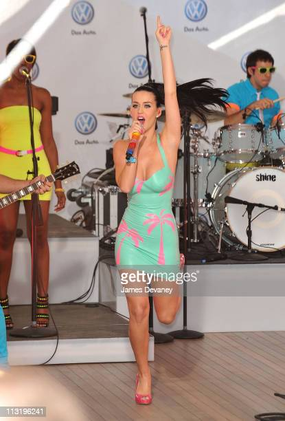 Katy Perry performs at the world premiere of Volkswagen's new Jetta compact sedan at Times Square on June 15 2010 in New York City