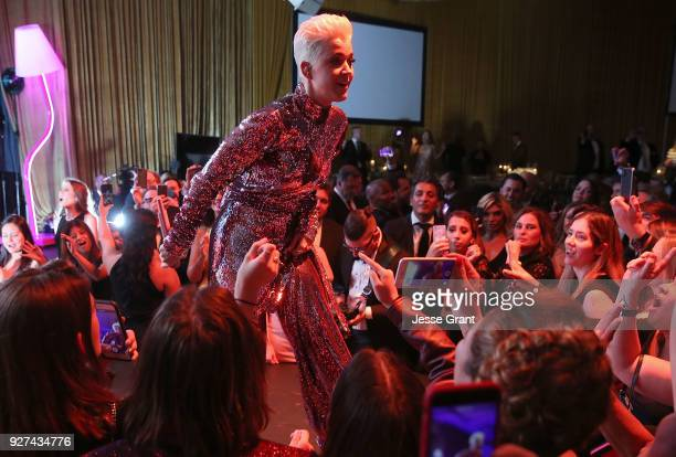 Katy Perry performs during Byron Allen's Oscar Gala Viewing Party to Support The Children's Hospital Los Angeles at the Beverly Wilshire Four Seasons...