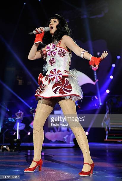 """Katy Perry performs during her """"California Dreams"""" tour at Nassau Veterans Memorial Coliseum on June 17, 2011 in Uniondale, New York."""