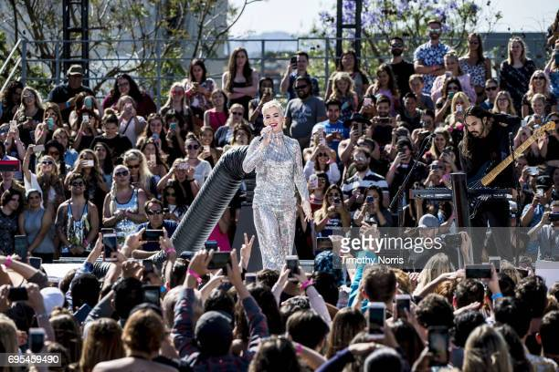 Katy Perry performs during Katy Perry Witness World Wide exclusive YouTube Livestream Concert at Ramon C Cortines School of Visual and Performing...