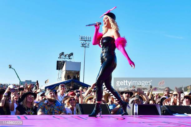 Katy Perry performs during the 2019 New Orleans Jazz & Heritage Festival 50th Anniversary at Fair Grounds Race Course on April 27, 2019 in New...