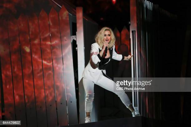 Katy Perry performs during THE 59TH ANNUAL GRAMMY AWARDS broadcast live from the STAPLES Center in Los Angeles Sunday Feb 12 on the CBS Television...