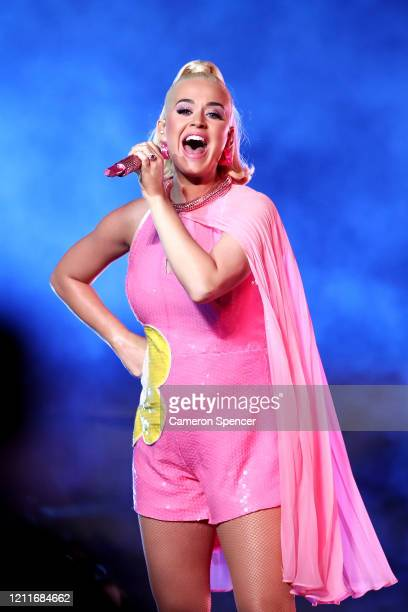 Katy Perry performs during the ICC Women's T20 Cricket World Cup Final between India and Australia at the Melbourne Cricket Ground on March 08 2020...