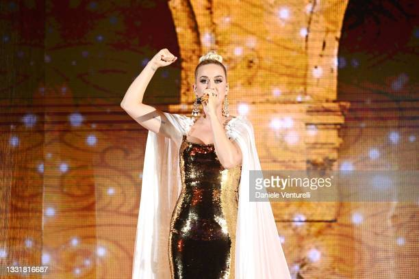 Katy Perry performs during the LuisaViaRoma for Unicef event at La Certosa di San Giacomo on July 31, 2021 in Capri, Italy.