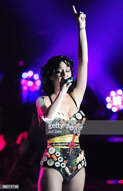 Katy Perry performs during the MTV Video Music Awards Japan 2009 at Saitama Super Arena on May 30 2009 in Saitama Japan