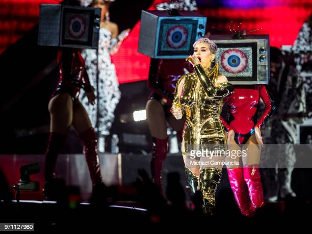 Katy Perry performs in concert during her 'WITNESS THE TOUR' tour at the Ericsson Globe Arena on June 10 2018 in Stockholm Sweden