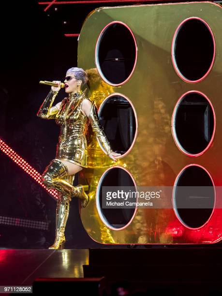 Katy Perry performs in concert during her WITNESS THE TOUR tour at the Ericsson Globe Arena on June 10 2018 in Stockholm Sweden