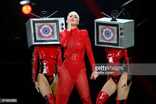 Katy Perry performs live on stage during the 'Witness The Tour' at The O2 Arena on June 14 2018 in London England