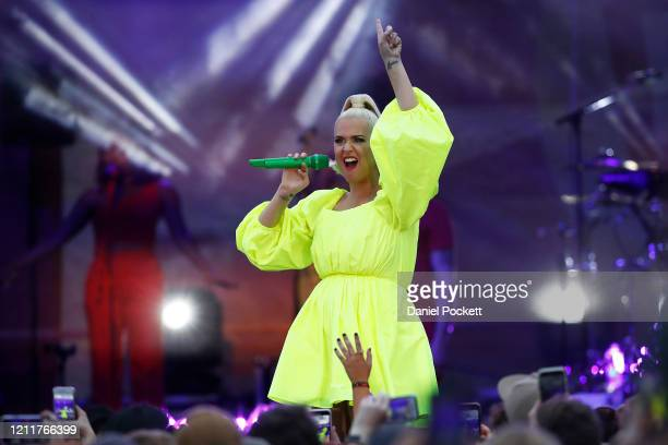 Katy Perry performs on March 11 2020 in Bright Australia The free Fight On concert was held for for firefighters and communities recently affected by...