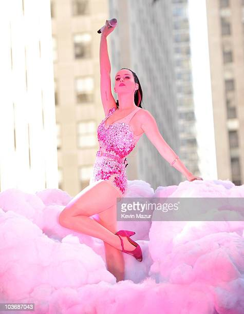 Katy Perry performs on NBC's 'Today' in Rockefeller Center on August 27 2010 in New York City