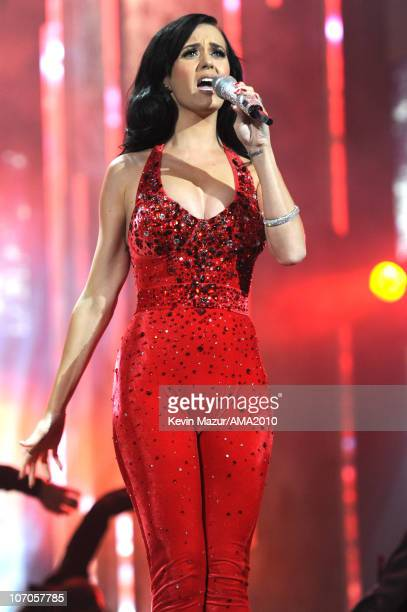 Katy Perry performs on stage at the 2010 American Music Awards held at Nokia Theatre LA Live on November 21 2010 in Los Angeles California