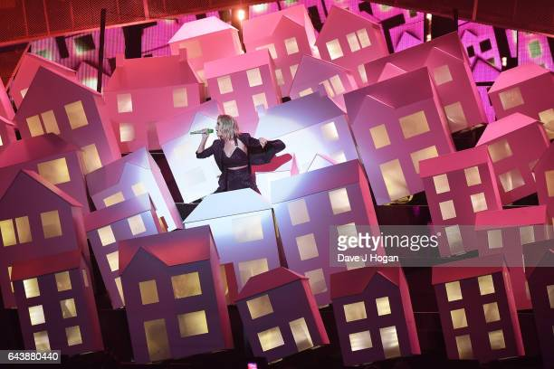 ONLY Katy Perry performs on stage at The BRIT Awards 2017 at The O2 Arena on February 22 2017 in London England