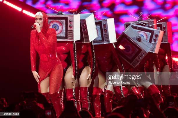 Katy Perry performs on stage at The SSE Hydro on June 24, 2018 in Glasgow, Scotland.