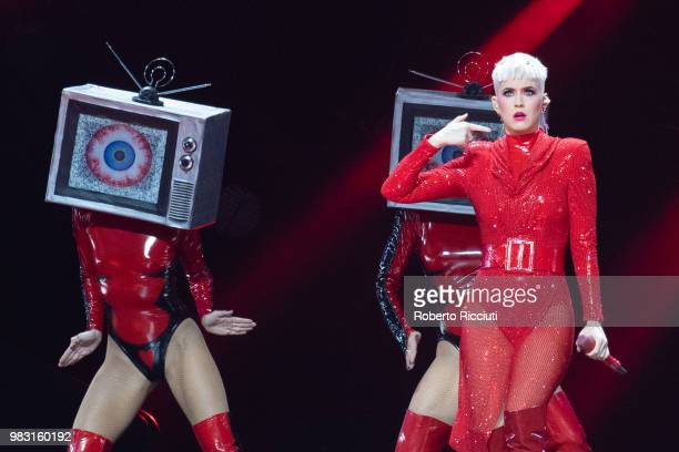 Katy Perry performs on stage at The SSE Hydro on June 24 2018 in Glasgow Scotland