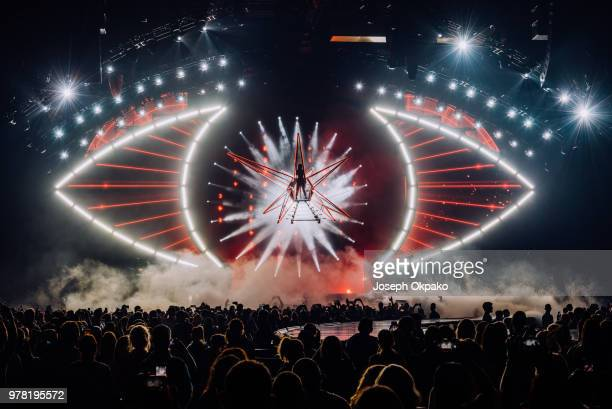 Katy Perry performs on stage during her Witness Tour at Birmingham Arena on June 18 2018 in Birmingham England