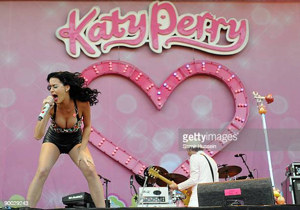Katy Perry performs on the 4 Music Stage on day 2 of the V Festival on August 23 2009 at Hylands Park in Chelmsford England