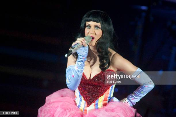 Katy Perry performs on the opening night of her 'California Dreams' UK tour at Hammersmith Apollo on March 17 2011 in London England