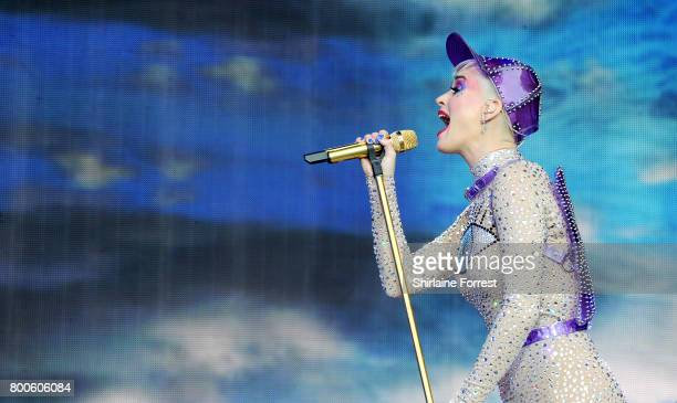 Katy Perry performs on the pyramid stage on day 3 of the Glastonbury Festival 2017 at Worthy Farm Pilton on June 24 2017 in Glastonbury England